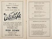 All Ireland Senior Hurling Championship Final,.Programme,.07.09.1952, 09.07.1952, 7th September 1952, .Cork 2-14, Dublin 0-7,.Minor Dublin v Tipperary,.Senior Cork v Dublin, .Croke Park, ..Advertisements, Certistyle Irish gown, ..Poems, Oro Se Do Beata Baile, The Banks of My Own Lovely Lee,