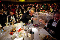 Nicolas Kent, recipient of the Emmy for Arts Programming, toasts to a tablemate at the 2009 International Emmy Awards Gala hosted by the International Academy of Television Arts & Sciences in New York.  ***EXCLUSIVE***.