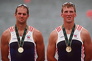 Atlanta, USA,   GBR M2- Gold Medallist left Steve REDGRAVE and Matthew PINSENT, on the awards dock after wiining the final at the 1996, Olympic Rowing Regatta at Lake Lanier, Gainsville Georgia,  [Photo Peter Spurrier/Intersport Images]