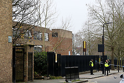 © Licensed to London News Pictures. 10/12/2020. London, UK. View of Stoke Newington School & Sixth Form in Hackney, north London, after the school was evacuated following a bomb threat. Police were contacted by staff at 11.55am on Thursday afters school received a bomb threat. Pupils were evacuated and officers are at the scene. Photo credit: Dinendra Haria/LNP