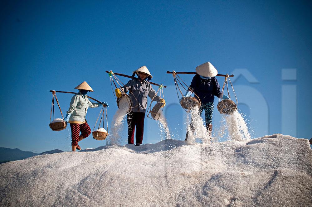 Vietnamese workers on top of a salt heap unload their wicker baskets.  Khanh Hoa province, Vietnam, Asia