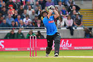 Luke Wright of Sussex hits the ball over the boundary for six runs during the Vitality T20 Finals Day Semi Final 2018 match between Worcestershire Rapids and Lancashire Lightning at Edgbaston, Birmingham, United Kingdom on 15 September 2018.