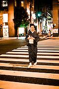 Woman in summer kimoo.