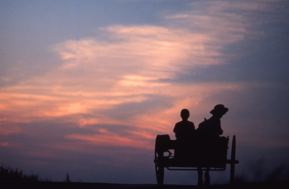 Sunset, Amish children in farm wagon on road, Lancaster Co., PA
