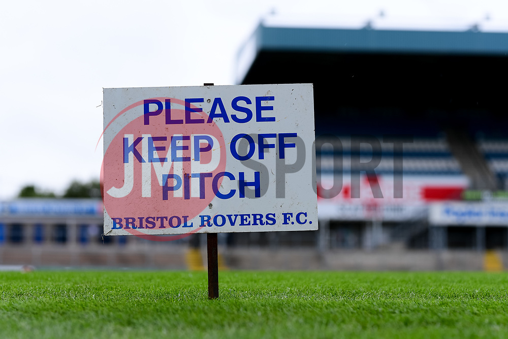 A general view of the Keep Off Pitch sign at the Memorial Stadium  prior to kick off  - Mandatory by-line: Ryan Hiscott/JMP - 28/08/2020 - FOOTBALL - Memorial Stadium - Bristol, England - Bristol Rovers v Cardiff City - Pre Season Friendly