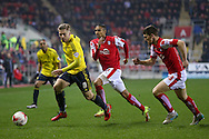Middlesbrough midfielder Adam Clayton (8)  gets away from Rotherham United midfielder Jerome Thomas (7)  and Rotherham United midfielder Richard Smallwood (33)  during the Sky Bet Championship match between Rotherham United and Middlesbrough at the New York Stadium, Rotherham, England on 8 March 2016. Photo by Simon Davies.