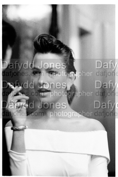 TANIA FOSTER-BROWN, DRINKS PARTY, Armourer's Hall. London,  30 June 1988,<br /> <br /> SUPPLIED FOR ONE-TIME USE ONLY> DO NOT ARCHIVE. © Copyright Photograph by Dafydd Jones 248 Clapham Rd.  London SW90PZ Tel 020 7820 0771 www.dafjones.com