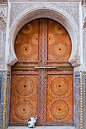Entrance door of the mosque and mausoleum Sidi Ahmed Tijani in Fès, Morocco.