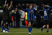 """Javier Zanetti (Inter) celebrates<br /> Esultanza fine partita<br /> Milano 15/2/2009 Stadio """"Giuseppe Meazza"""" <br /> Campionato Italiano Serie A 2008/2009<br /> Inter Milan (2-1)<br /> Foto Giuseppe Celeste Insidefoto"""