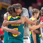 TOKYO, JAPAN August 5: Patty Mills #6 of Australia is hugged by Kevin Durant #7 of the United States after the Australia V USA semi final basketball match for men at the Saitama Super Arena during the Tokyo 2020 Summer Olympic Games on August 5, 2021 in Tokyo, Japan. (Photo by Tim Clayton/Corbis via Getty Images)