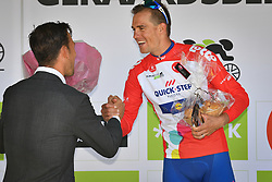 August 19, 2018 - Geraardsbergen, BELGIUM - Czech Zdenek Stybar of Quick-Step Floors celebrates on the podium in the red jersey for leader in the points ranking after the final stage of the Binkcbank Tour cycling race, 209,5 km from Lacs de l'Eau d'Heure to Geraardsbergen, Belgium, Sunday 19 August 2018. BELGA PHOTO DAVID STOCKMAN (Credit Image: © David Stockman/Belga via ZUMA Press)