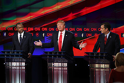 Dec. 15, 2015 - Las Vegas, Nevada, U.S. - GOP candidates (L-R) BEN CARSON, DONALD TRUMP, and TED CRUZ during the Republican presidential debate hosted by CNN at The Venetian. (Credit: Pool photo by Ruth Fremson/NYT via ZUMA Wire)