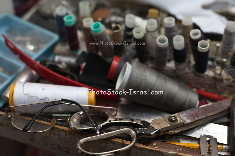 Selective focus in a tailor's workshop