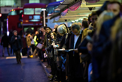 © Licensed to London News Pictures. 09/01/2017. London, UK.  Long queues of commuters waiting for buses at Victoria station in London on the second day of a 24 hour tube strike.  All Zone one tube stations are closed until 6PM tonight after members of the RMT and the Transport Salaried Staffs' Association unions walked out after talks with TFL collapsed. Photo credit: Ben Cawthra/LNP