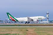 Alitalia, Airbus A330-202. Photographed at Malpensa airport, Milan, Italy