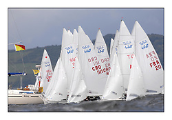 470 Class European Championships Largs - Day 3.Brighter conditions with more wind..Men's Start, CV, Waves.