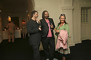 Matthew Carey-Williams, Keith Tyson and Xenia Tyson. VIP opening of Bill Viola exhibition Love/Death: The Tristan project. Haunch of Venison, St Olave's College, Tooley St. London and Dinner afterwards at Banqueting House. Whitehall. 19 June 2006. ONE TIME USE ONLY - DO NOT ARCHIVE  © Copyright Photograph by Dafydd Jones 66 Stockwell Park Rd. London SW9 0DA Tel 020 7733 0108 www.dafjones.com