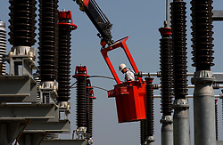 Photographed for Elia Annual Report:<br /> <br /> Construction of an electric power substation in Amay, Belgium. Elia is Belgium's high-voltage transmission system operator.