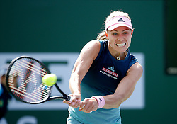 March 9, 2019 - Indian Wells, CA, U.S. - INDIAN WELLS, CA - MARCH 09: Angelique Kerber (GER) hits a backhand during the second round of the BNP Paribas Open on March 09, 2019, at the Indian Wells Tennis Gardens in Indian Wells, CA. (Photo by Adam Davis/Icon Sportswire) (Credit Image: © Adam Davis/Icon SMI via ZUMA Press)