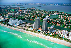 Miami Beach and downtown Miami, Florida, Atlantic Ocean