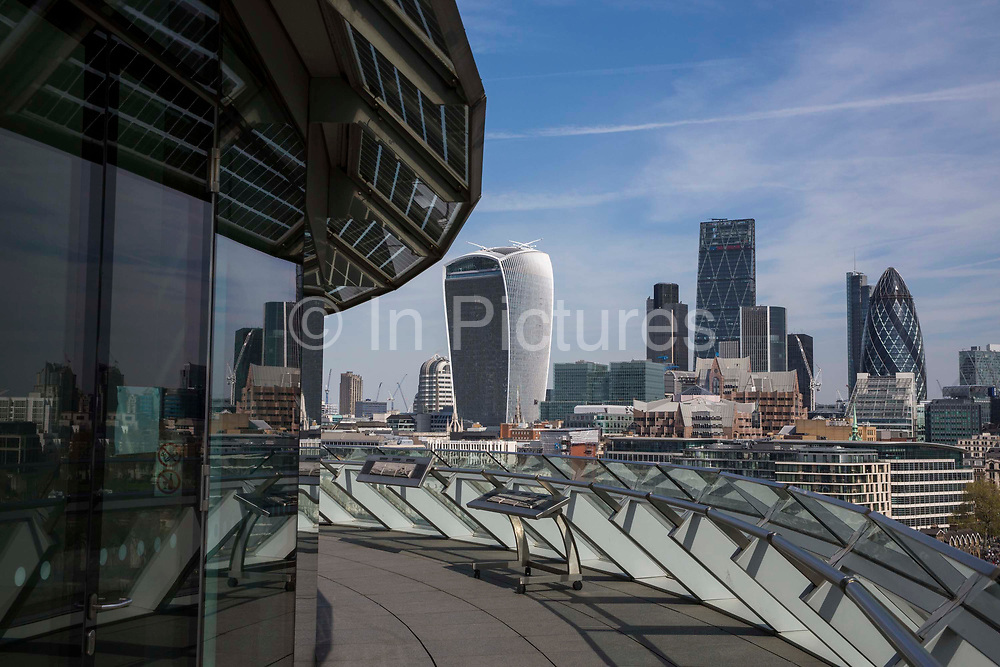 A view of the  buildings on the city of Londons skyline including the Walkie Talkie 20 Fenchurch Street and the Gherkin 30 St Mary Axe. taken from the balcony of City Hall, Central London, UK.