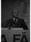 Fianna Fáil Ard Fheis.  (R97)..1989..25.02.1989..02.25.1989..25th February 1989..The Fianna Fáil Ard Fheis was held today at the RDS Main Hall, Ballsbridge, Dublin. An Taoiseach, Charles Haughey TD,gave the keynote speech of the event...An Taoiseach, Charles Haughey TD, is pictured delivering his keynote address to the assembled Fianna Fáil delegates at the Ard Fheis In the RDS, Dublin.