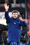 Tottenham Hotspur manager Mauricio Pochettino waves to the Tottenham fans in celebration at full time after a 4-1 win over Bournemouth during the Premier League match between Bournemouth and Tottenham Hotspur at the Vitality Stadium, Bournemouth, England on 11 March 2018. Picture by Graham Hunt.
