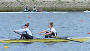 Reading. United Kingdom.  GBR W2-. Karen BENNETT and poppa BURNHAM, in the opening strokes of the morning time trial. 2014 Senior GB Rowing Trails, Redgrave and Pinsent Rowing Lake. Caversham.<br /> <br /> 10:46:35  Saturday  19/04/2014<br /> <br />  [Mandatory Credit: Peter Spurrier/Intersport<br /> Images]