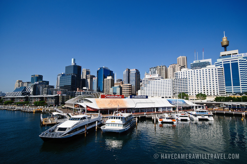 Aquarium at Darling Harbour in Sydney with cityscape in the background