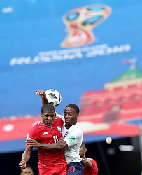 NIZHNY NOVGOROD, June 24, 2018  Armando Cooper (L) of Panama vies with Raheem Sterling of England during the 2018 FIFA World Cup Group G match between England and Panama in Nizhny Novgorod, Russia, June 24, 2018. England won 6-1. (Credit Image: © Xu Zijian/Xinhua via ZUMA Wire)