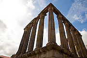 Templo de Diana, the second or third century ruins of a roman temple is the best known monument of the city of Evora, capital of Alentejo province, in Portugal.