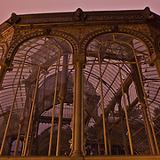 This is an image demonstraing the ins and outs of this unique architecture of a building known as the Crystal Palace in Madrid.