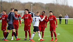 DERBY, ENGLAND - Friday, March 8, 2019: Liverpool's Alex Oxlade-Chamberlain shakes hands with Derby County's Calum MacDonald before the FA Premier League 2 Division 1 match between Derby County FC Under-23's and Liverpool FC Under-23's at the Derby County FC Training Centre. (Pic by David Rawcliffe/Propaganda)