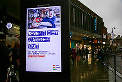 © Licensed to London News Pictures. 13/12/2020. London, UK. A government's publicity campaign for firms that trade with Europe to prepare for a no-deal Brexit,  amid fears of UK facing a shortage of fish if EU-UK trade negotiations do not reach an agreement on fishing rights. Brexit talks continue as fishing remains one of the biggest issues in the  trade negotiations. Prime Minister Boris Johnson warns a no-deal remains the most likely outcome.  Without a deal, fishing boats from the European Union would be banned from fishing in the UK's Exclusive Economic Zone (EEZ) and UK fishing boats would be barred from the entering waters of nearby EU member states. Photo credit: Dinendra Haria/LNP