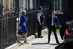 London, UK. 24 July, 2019. Theresa May leaves 10 Downing Street to attend her final session of Prime Minister's Questions in the House of Commons.