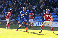Kenneth Zohore of Cardiff city © celebrates  after he scores his teams 1st goal. . EFL Skybet championship match, Cardiff city v Bristol city at the Cardiff city stadium in Cardiff, South Wales on Sunday 25th February 2018.<br /> pic by Andrew Orchard, Andrew Orchard sports photography.