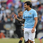Carlos Tevez, Manchester City,  in action during the Manchester City V Chelsea friendly exhibition match at Yankee Stadium, The Bronx, New York. Manchester City won the match 5-3. New York. USA. 25th May 2012. Photo Tim Clayton