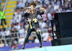 Alicia Keys performs prior to the football match between Real Madrid (ESP) and Atlético de Madrid (ESP) in Final of UEFA Champions League 2016, on May 28, 2016 in San Siro Stadium, Milan, Italy. Photo by Vid Ponikvar / Sportida