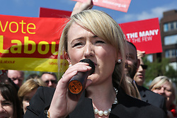 © Licensed to London News Pictures. 09/05/2017. Salford, UK. Labour shadow cabinet member Rebecca Long-Baily speaks to supporters and the media at a rally in Salford after the launch of the party's general election campaign this morning. Photo credit : Ian Hinchliffe/LNP