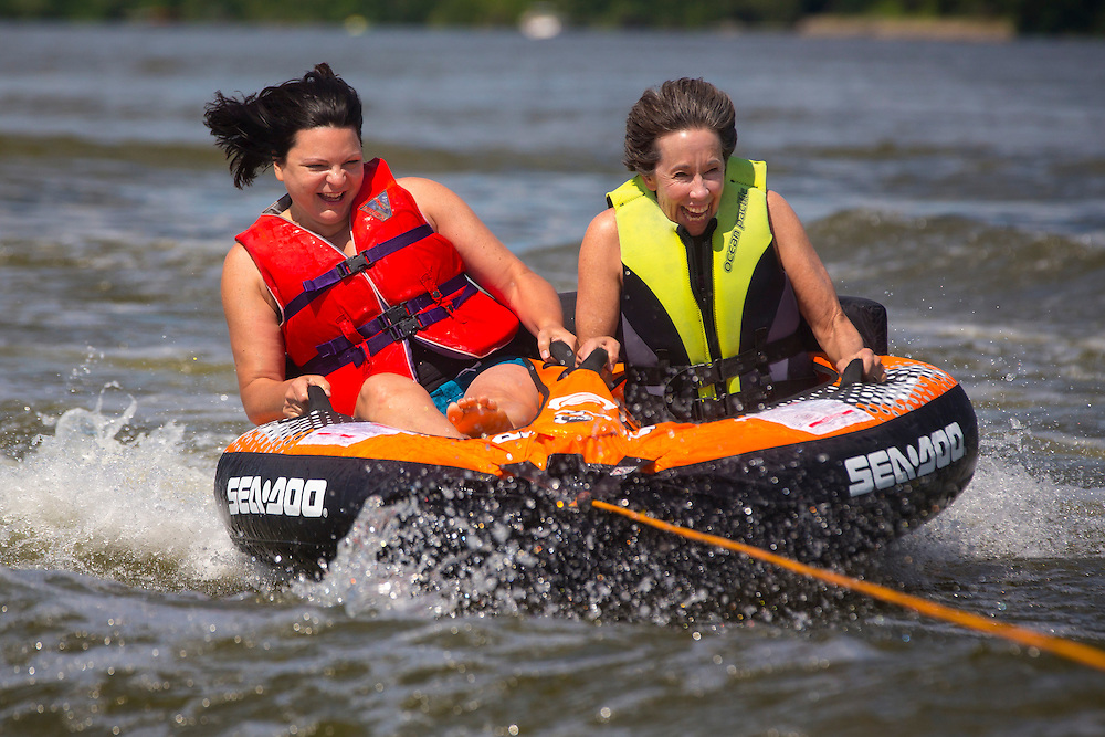 Judy Roemer and Judy Turba tubing on the Fox River in De Pere, Wisconsin.  Photo by Mike Roemer