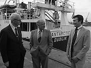 "Super Trawler ""Antarctic"".    (N44)..1980..02.10.1980..10.02.1980..2nd October 1980..The first of five super-trawlers for Ireland, The Antarctic, for Kevin McHugh,an Achaill Islander,arrived in Dublin today.The vessel whch cost over £2million marks the beginning of a middle water fleet for Ireland..Image shows Michael McHugh, Chairman, Irish Fish Producers Organisation,Mr Brendan O'Kelly, Chairman, Bórd Iascaigh Mhara and the skipper of 'Antarctic' Kevin McHugh."