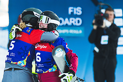 Selina Joerg (GER) with Megan Farrell (CAN) during parallel slalom FIS Snowboard Alpine World Championships 2021 on March 2nd 2021 on Rogla, Slovenia. Photo by Grega Valancic / Sportida