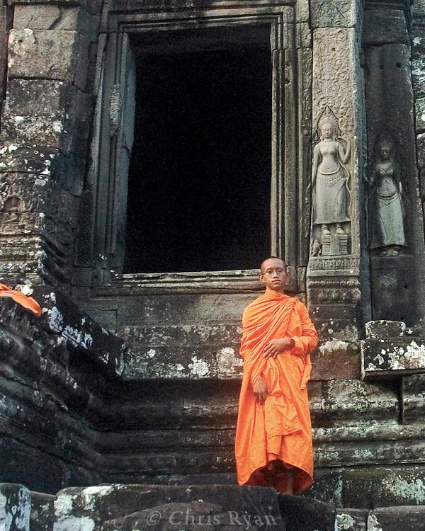 Young monk, Bayon temple, Angkor, Cambodia