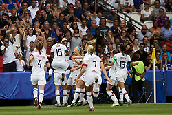 June 28, 2019 - Paris, France - Megan Rapinoe (Reign FC) of United States celebrates after scoring her sides first goal during the 2019 FIFA Women's World Cup France Quarter Final match between France and USA at Parc des Princes on June 28, 2019 in Paris, France. (Credit Image: © Jose Breton/NurPhoto via ZUMA Press)