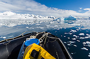 Zodiac cruising in scenic Neko Harbor, Andvord Bay, Antarctic Peninsula