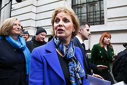 © Licensed to London News Pictures. 20/02/2019. London, UK. Anna Soubry, Sarah Wollaston and Heidi Allen arrives for the press conference with Independent Group members. <br /> Former Conservative MPs Anna Soubry, Sarah Wollaston and Heidi Allen hold news conference after leaving the party for Independent Group in Westminster. Photo credit: Dinendra Haria/LNP