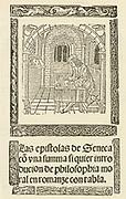 'Seneca  - Lucius Annaeus Seneca (c4 BC- 65 AD) Roman Stoic philosopher, statesman and dramatist: Tutor and later adviser to the Emperor Nero. Title page of a printed edition of his ''Les Epistolas'' (Letters), Toledo, 1510.'