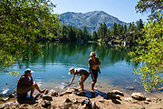 Secret Lake. We hiked Leavitt Meadows Loop clockwise (8.9 miles with 1570 ft gain with ridge extension above Lane Lake) in Hoover Wilderness, Humboldt-Toiyabe National Forest, California, USA. Trailhead is at Leavitt Meadows Campground, 38.33401 N, 119.55177 W. Staying below 8000 ft elevation, this makes a good training hike. The best ambiance is at Secret Lake. Roosevelt and Lane Lakes provide pleasant views.