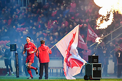 Scarlets' Aaron Shingler comes onto the field at the start of the game<br /> <br /> Photographer Craig Thomas/Replay Images<br /> <br /> European Rugby Champions Cup Round 5 - Scarlets v Toulon - Saturday 20th January 2018 - Parc Y Scarlets - Llanelli<br /> <br /> World Copyright © Replay Images . All rights reserved. info@replayimages.co.uk - http://replayimages.co.uk