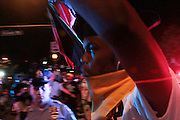 July 26, 2016-Philadelphia, PA-United States: Day 2- Anti-Hillary Clinton Protestors and Pro-Bernie Sanders supporters protest against the official nomination  of Democratic Presidential Candidate Hillary Clinton while clashing with Police during Day 2 of the 2016 Democratic National Convention held at the Wells Fargo Center on July 26, 2016 in the city of Philadelphia, Pennsylvania.  (Terrence Jennings/terrencejennings.com)